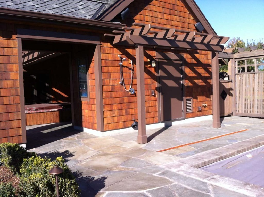 outdoor shower and pool landscape design