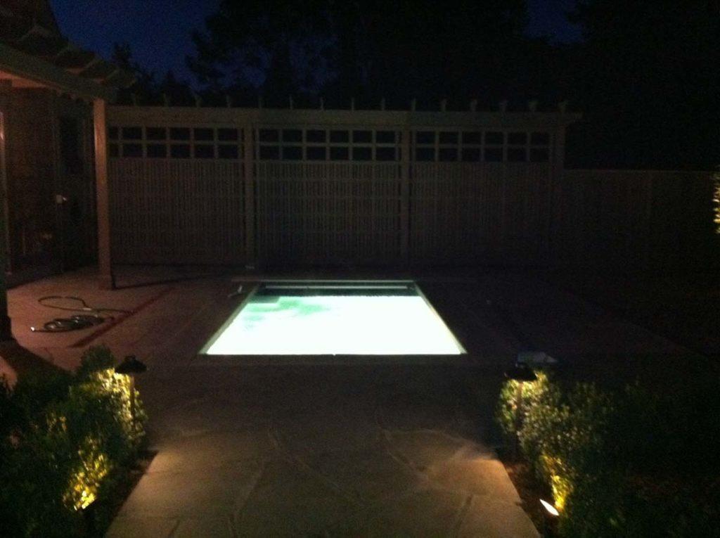 swim spa & screen landscape design 6