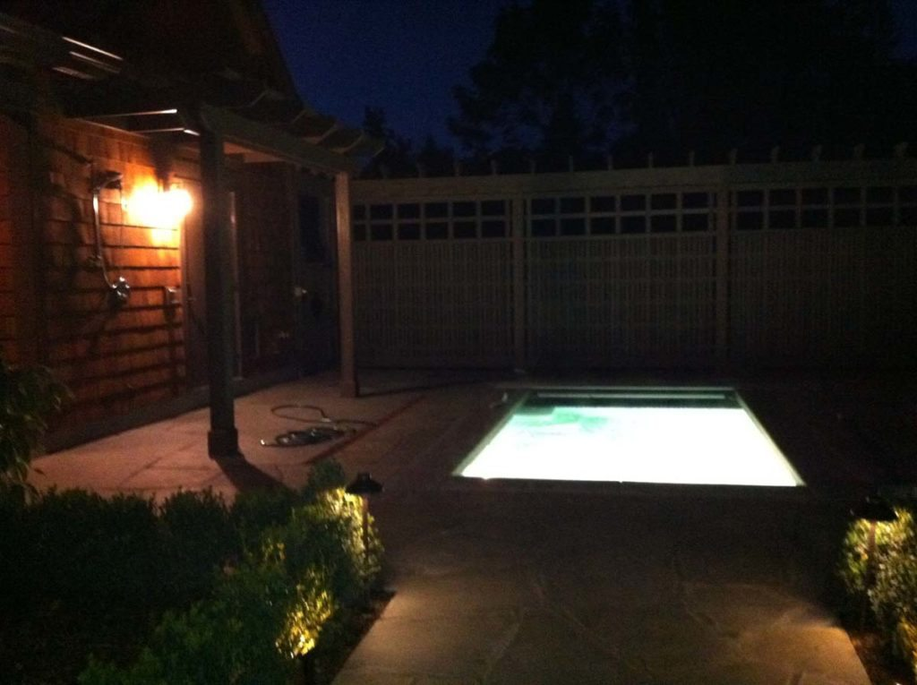 swim spa & screen landscape design 5