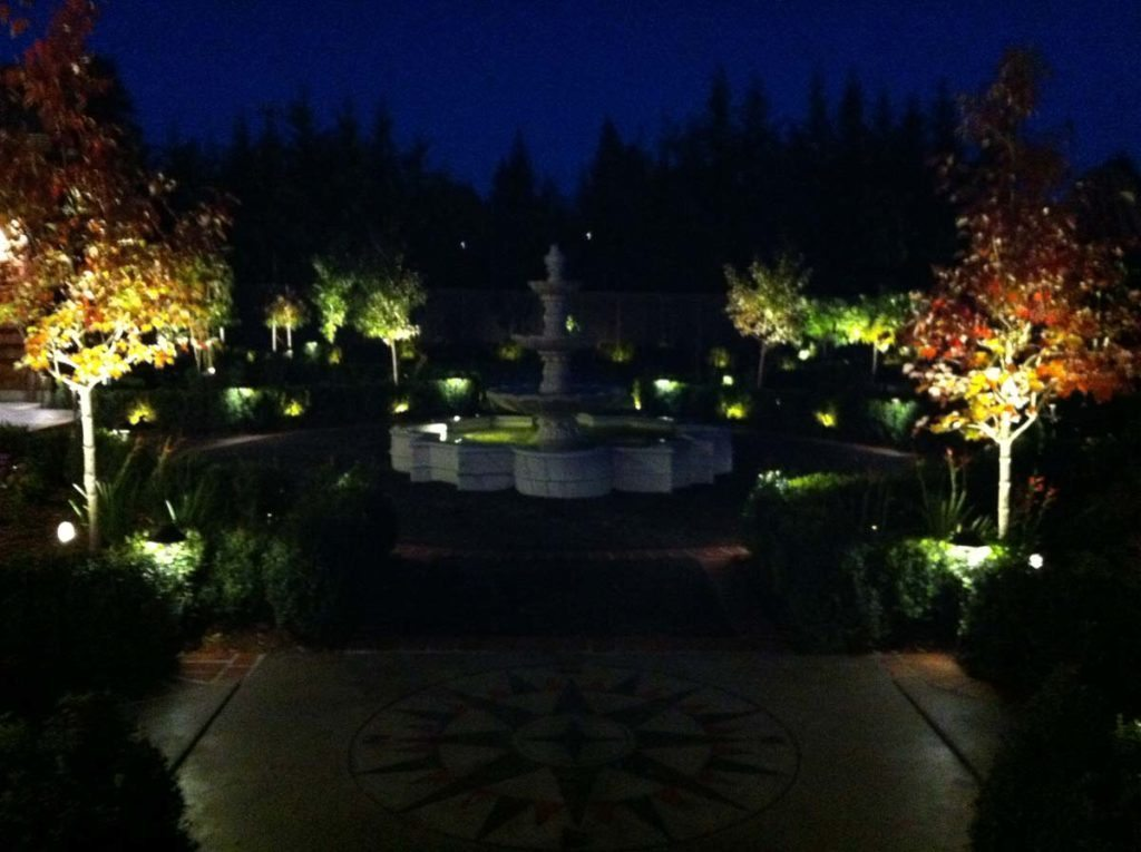 marble fountain and bluestone courtyard landscape lighting 2