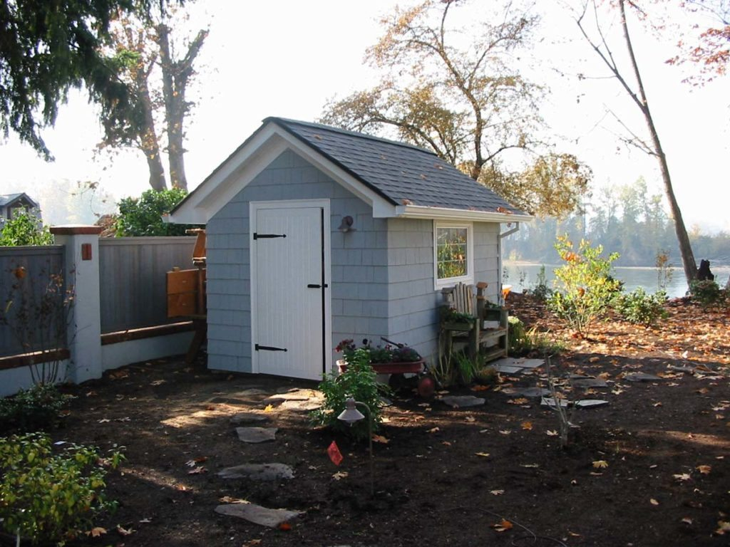 garden shed with windows and bench in salem oregon 3