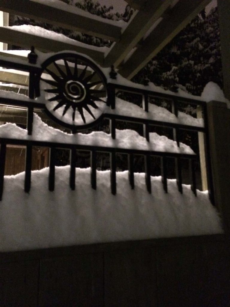 carpentry detail on gate in landscape design with snow