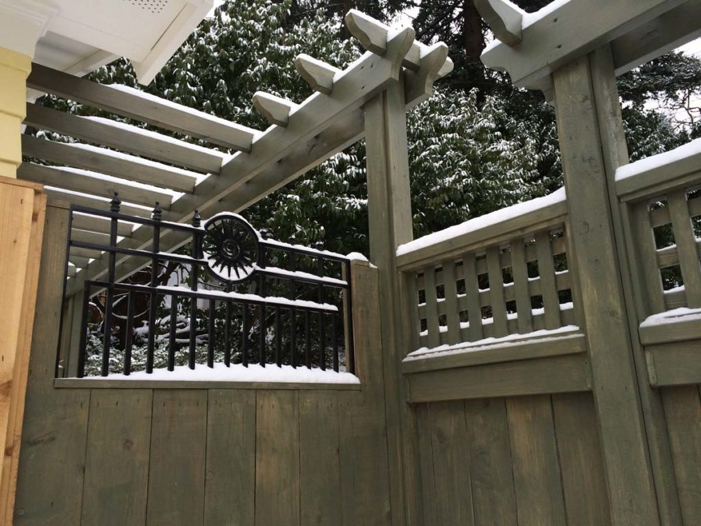 carpentry gate with detail landscape design with snow