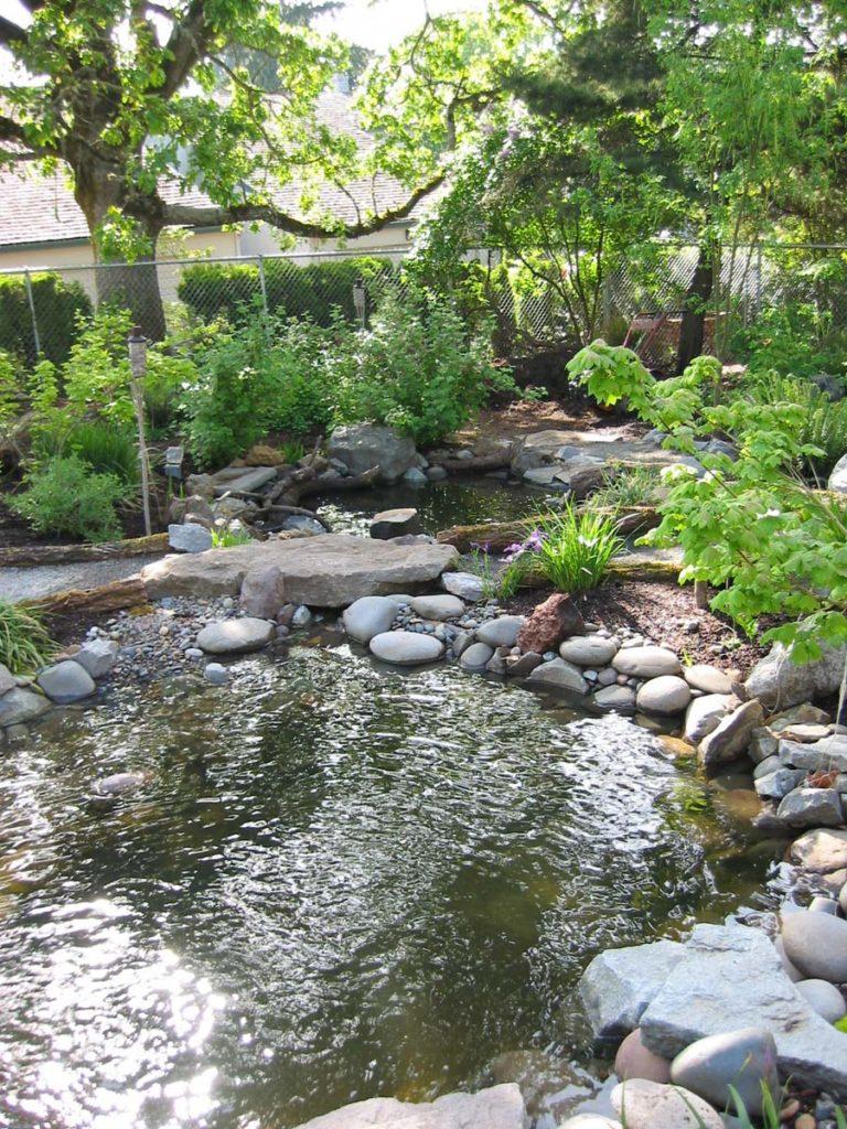 pond with rock column and boulders salem oregon