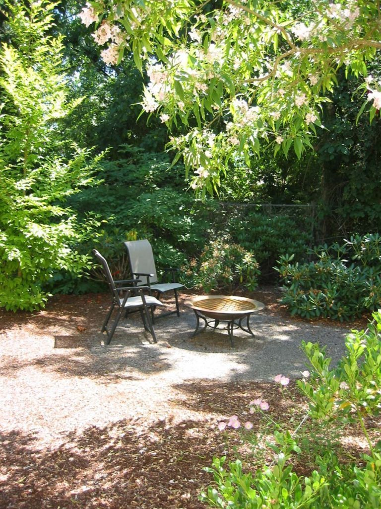 fire pit with outdoor furniture and native plant buffer landscape design 2
