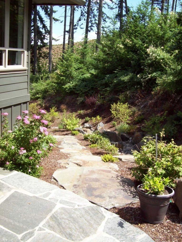 flagstone dry stream landscape design