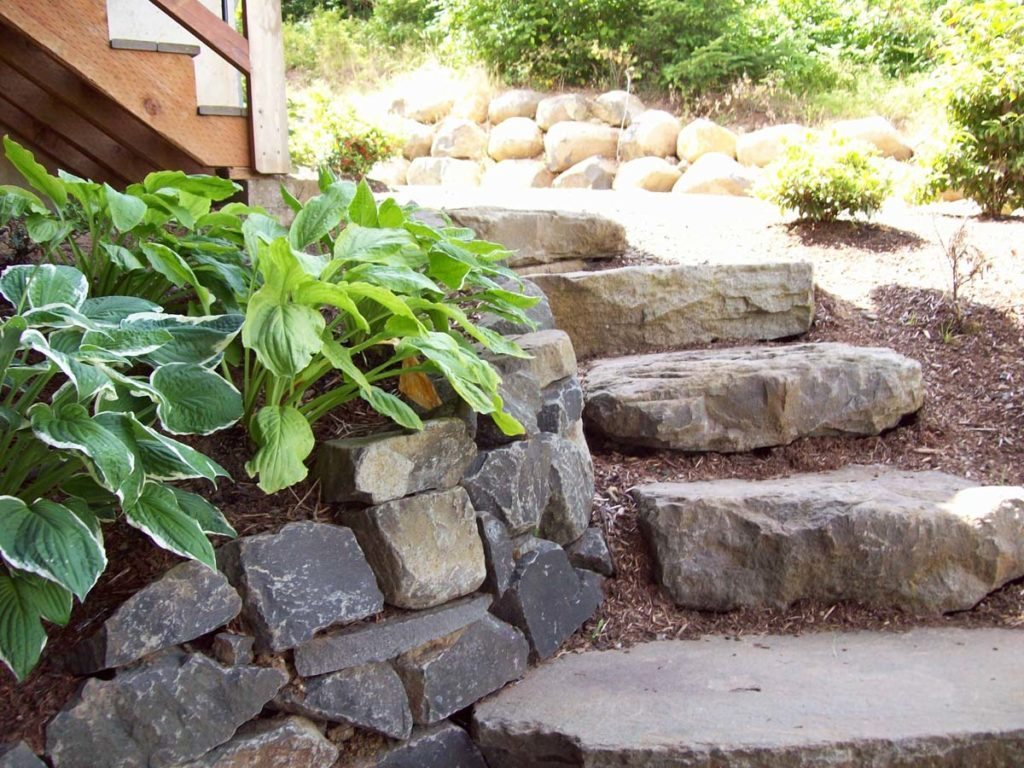 slab stone steps rubble rock wall salem oregon