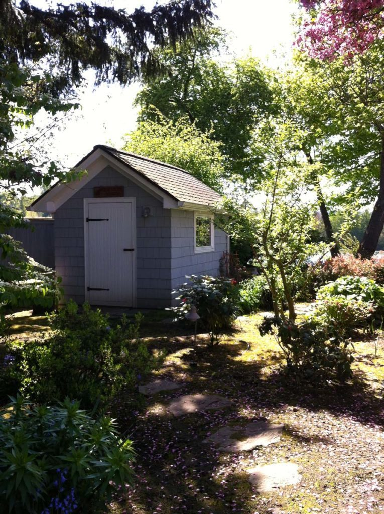 garden shed with windows and bench in salem oregon