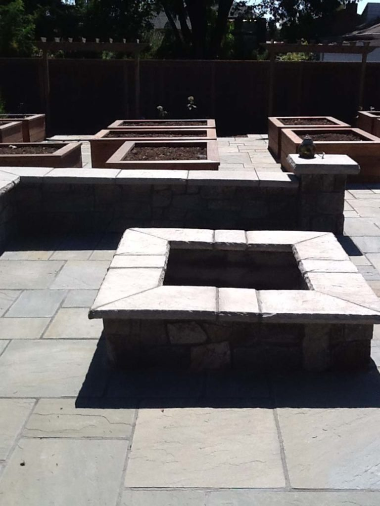 firepit patio raised beds landscape salem