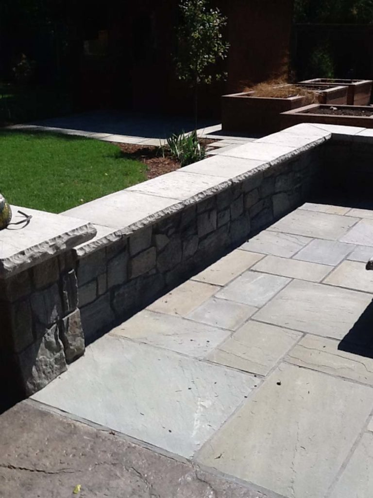 bluestone seat wall in landscape design