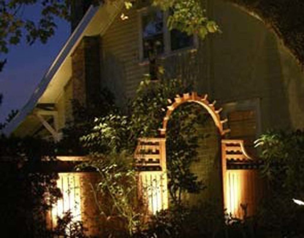 lighted brick walkway gate pergola design salem landscape