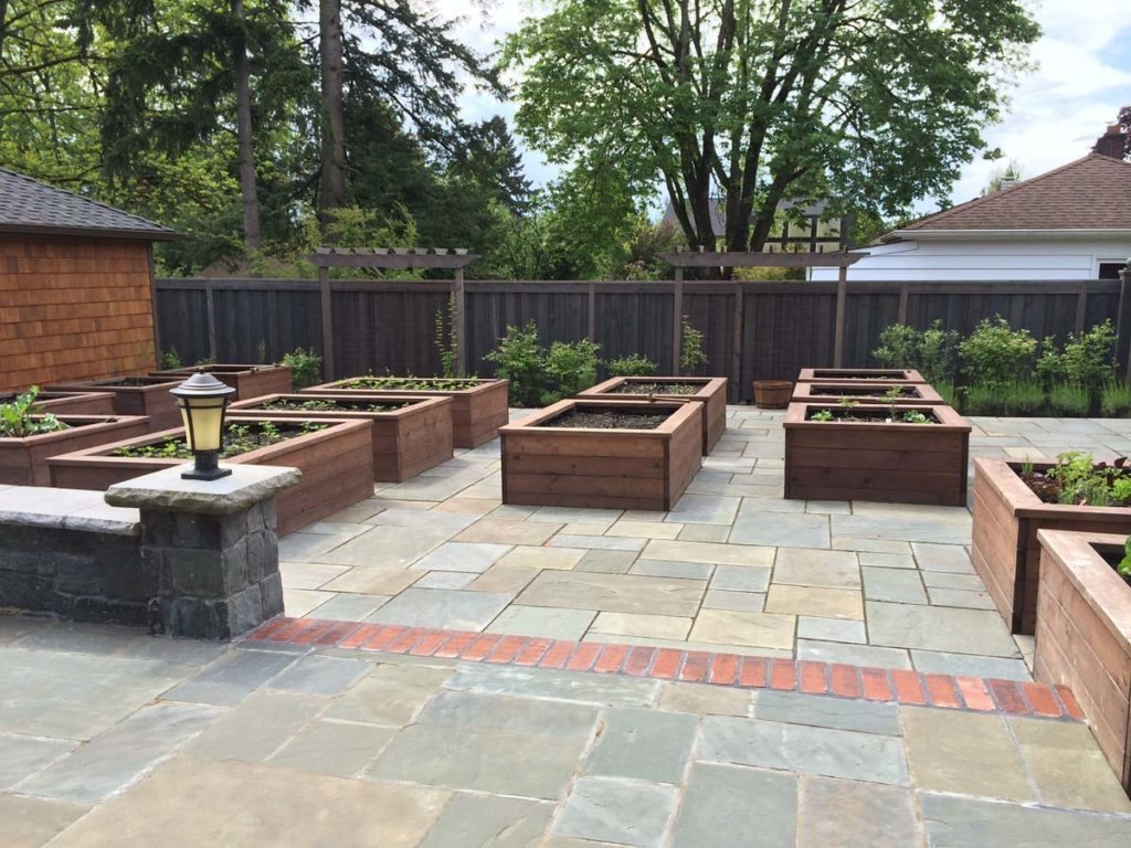 bluestone courtyard and raised beds in salem oregon 6