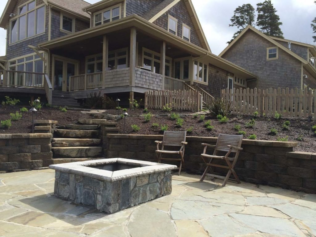 fire spaces and mortared flagstone landscape design 2