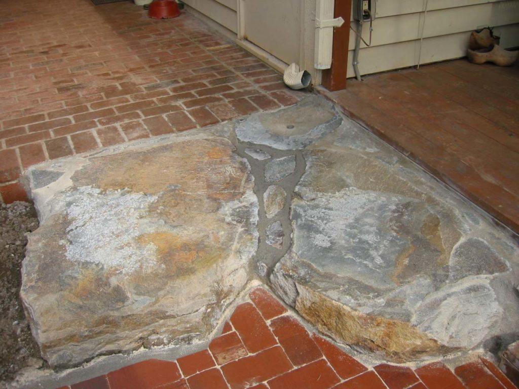 slab stone with clay brick patio design