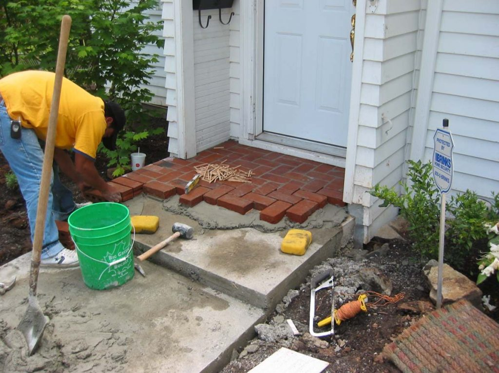 clay brick masonry entry construction landscape design