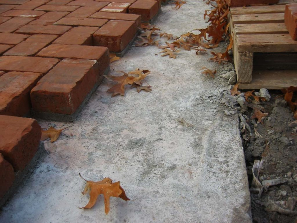 mortared clay brick installation in salem oregon