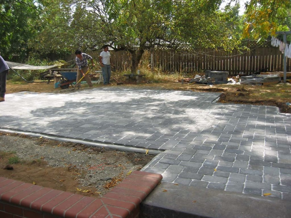 concrete brick pavers with mortared edging landscape design