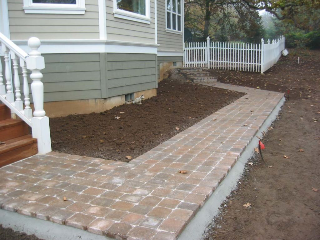 concrete brick pavers with mortared edging landscape design construction