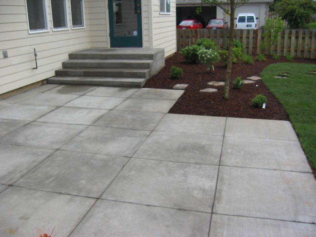 broomed concrete patio salem landscape