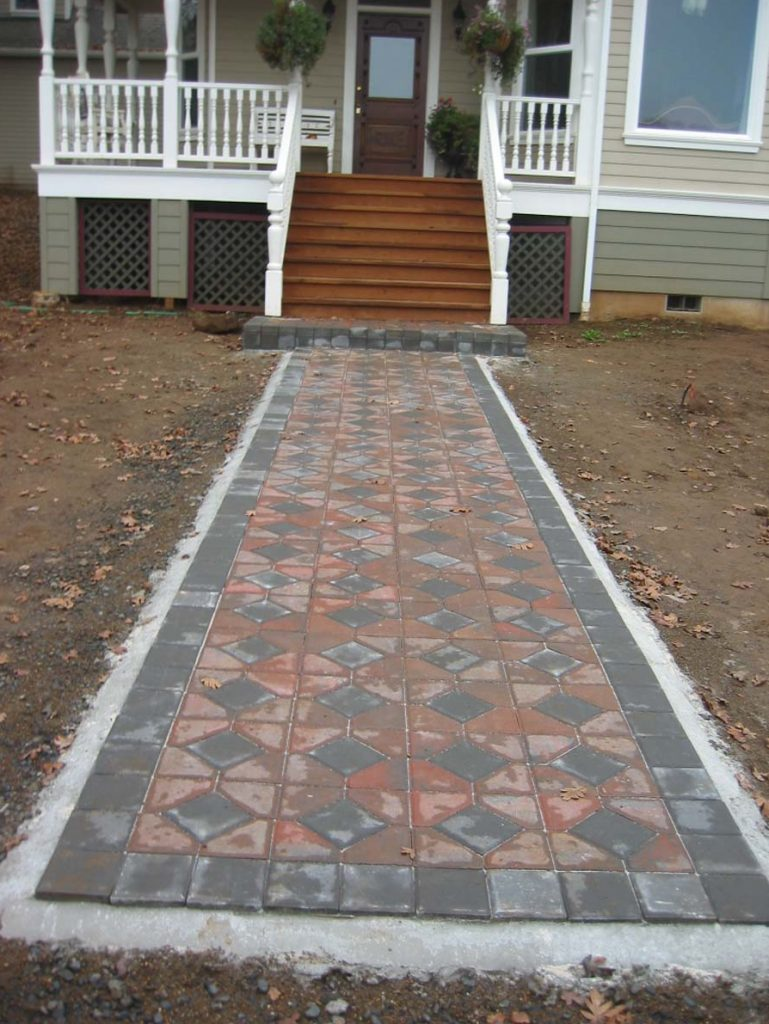 concrete paver bricks entry landscape design construction