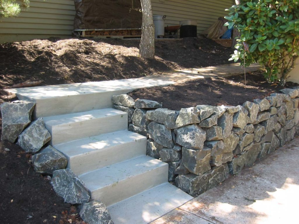concrete steps and rubble wall in salem oregon