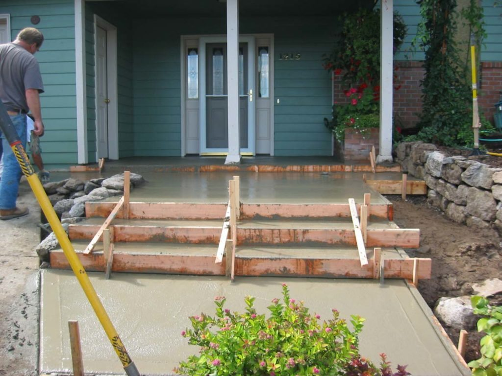 pouring concrete steps for landscape design
