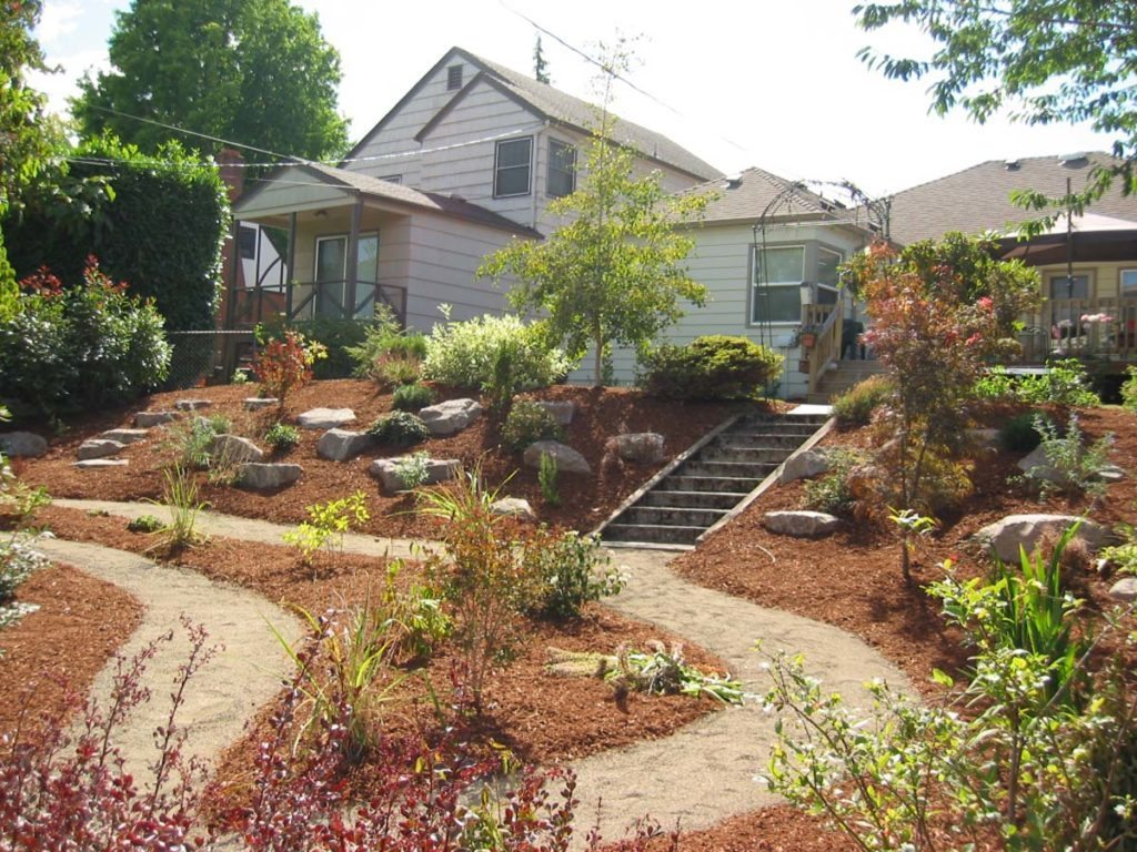 crushed gravel path and stairs landscape design