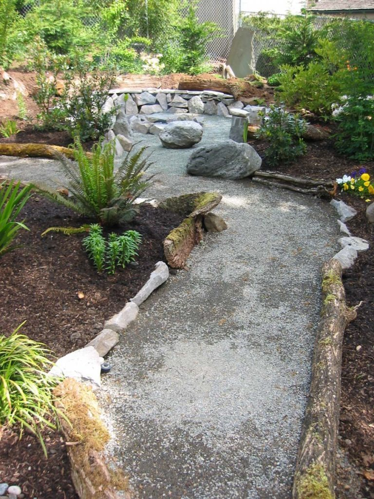 crushed gravel path with natural edging materials salem oregon