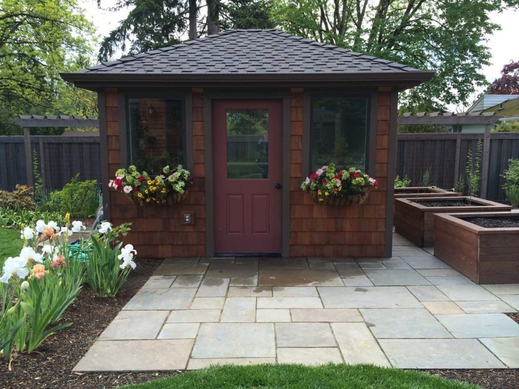 outdoor shed with cut bluestone walkway in salem oregon