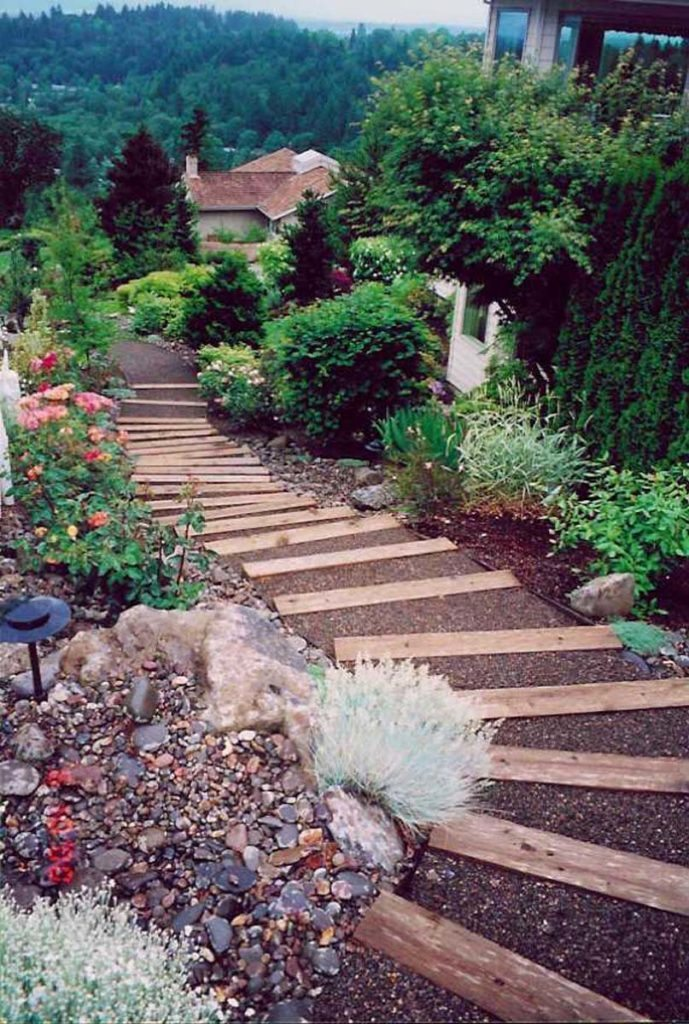 timber and gravel steps through landscape 2
