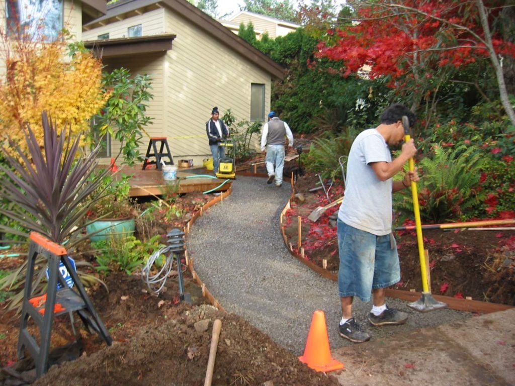 flagstone masonry and plants landscape design install