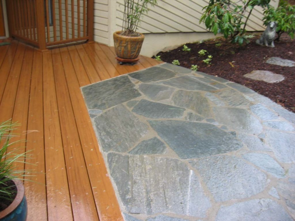flagstone masonry pathway landscape and decking