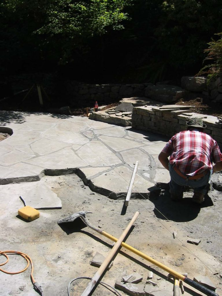 flagstone masonry installation prep landscape salem