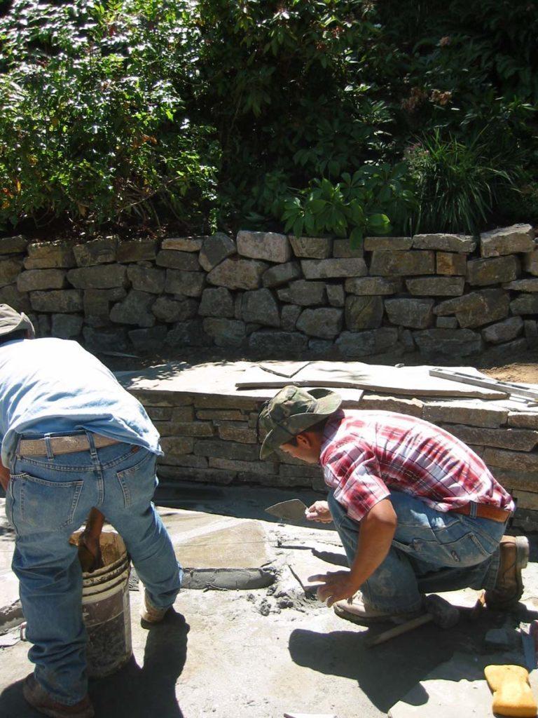 flagstone masonry installation prep landscape