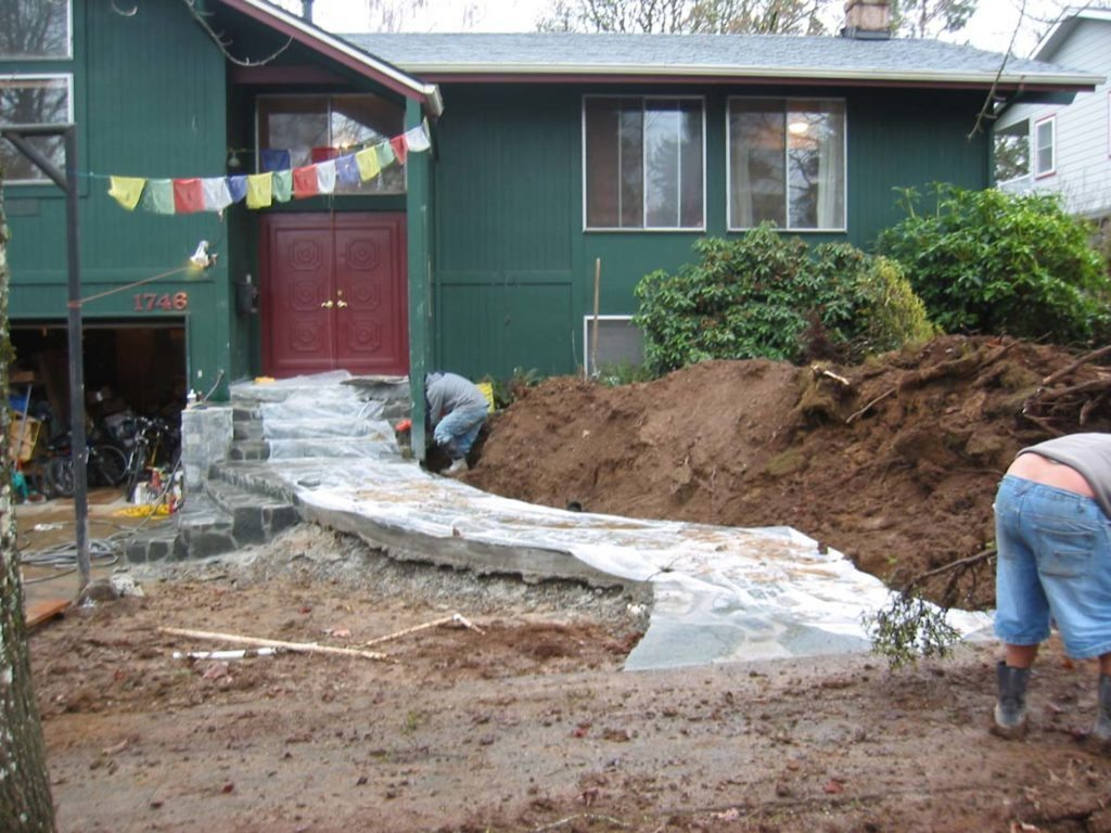 flagstone masonry prep for entry landscape design