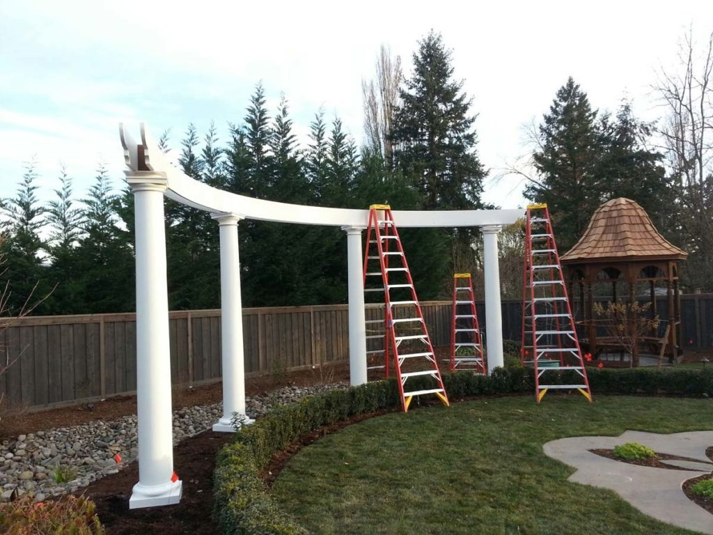 pergola folly construction in landscape design