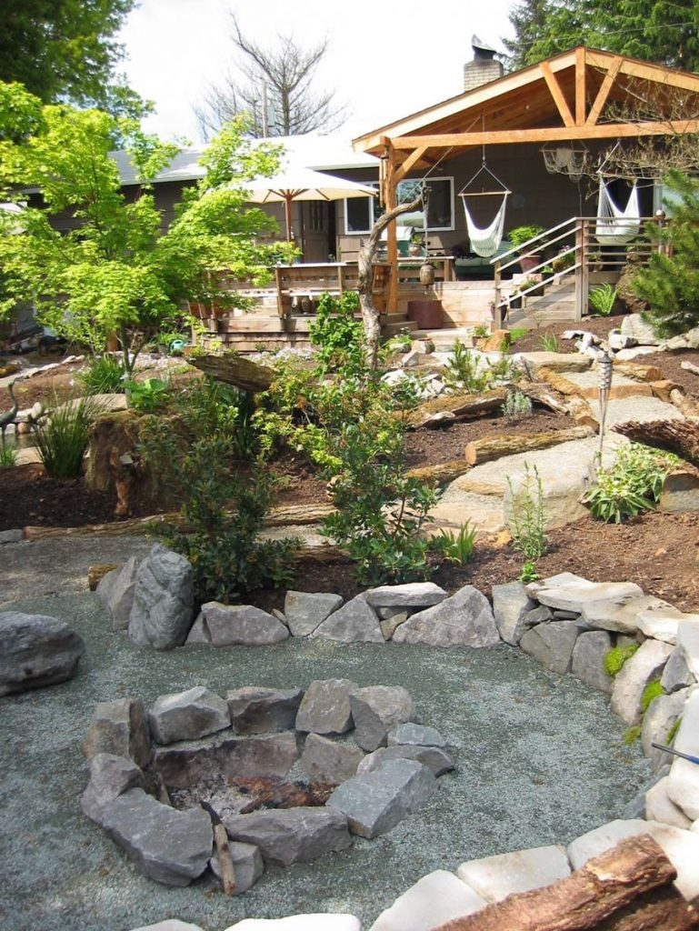 fire pit and covered deck landscape design