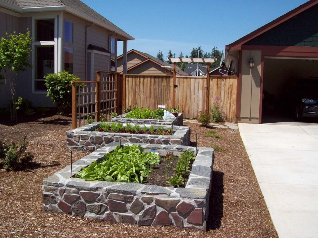 raised beds flagstone construction landscape 5