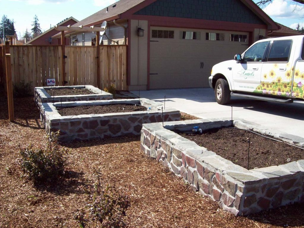 raised beds flagstone construction landscape 4