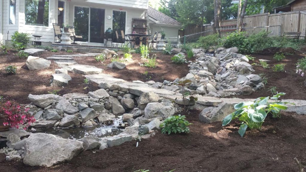 pond with path and landscape design salem oregon