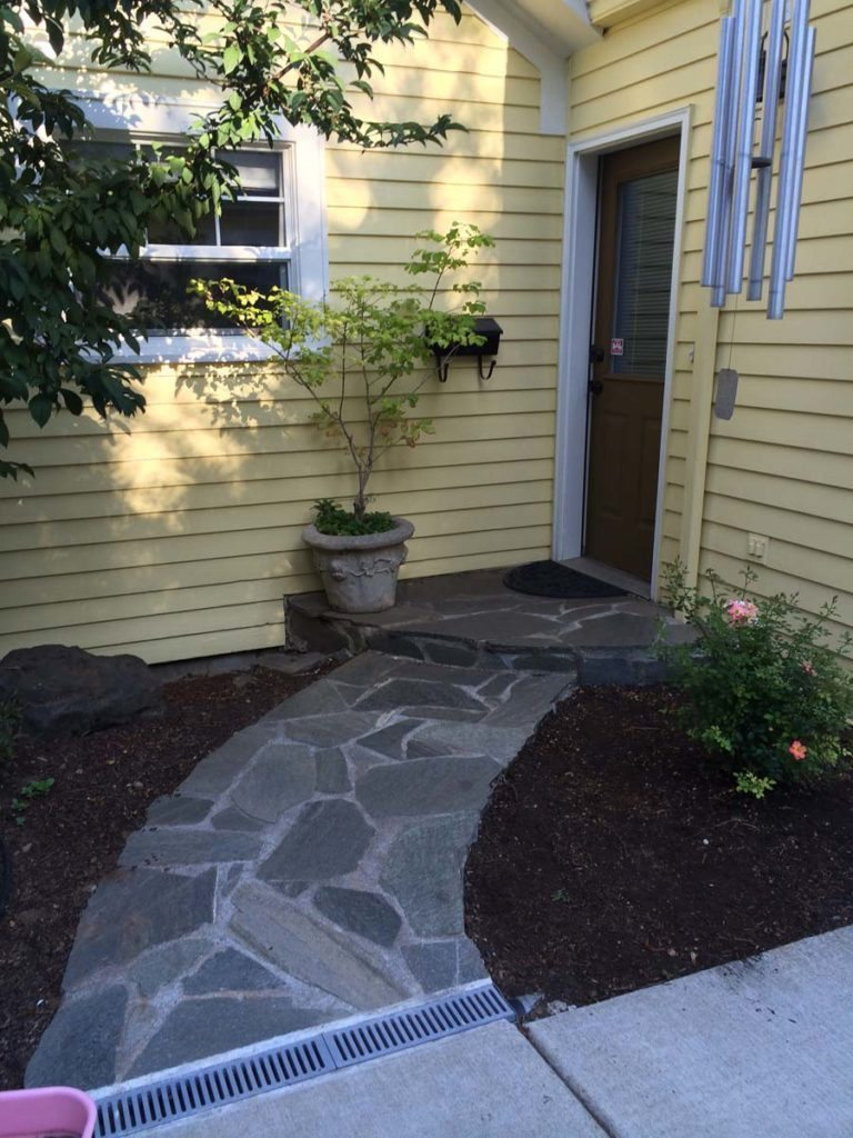 split stone walkway mortared landscape design