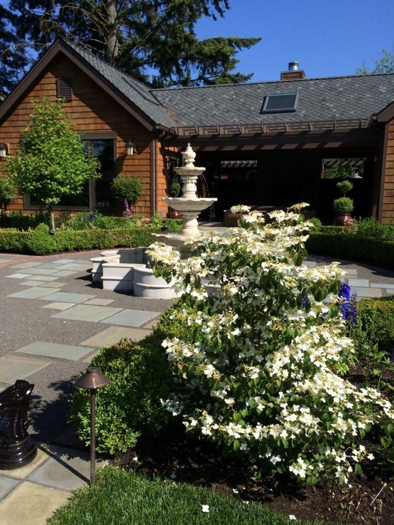 marble fountain and bluestone courtyard landscape