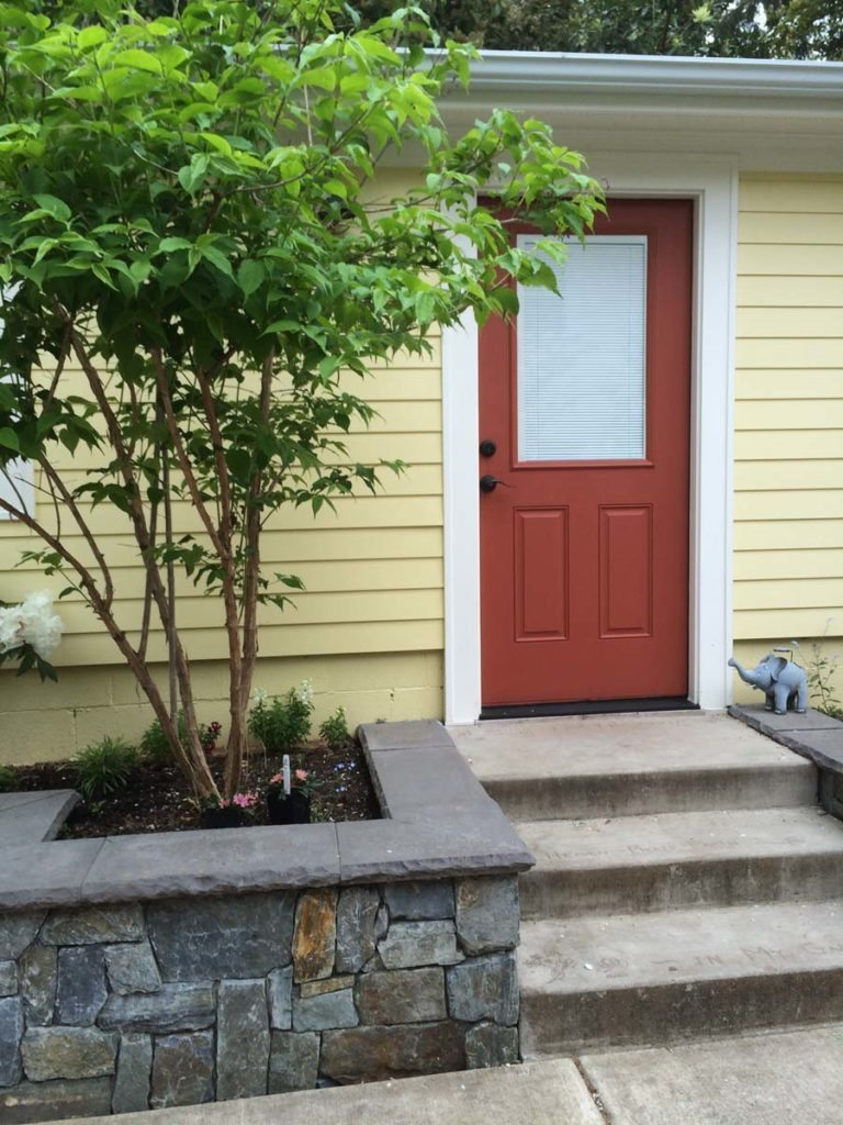 courtyard steps with planters landscape design