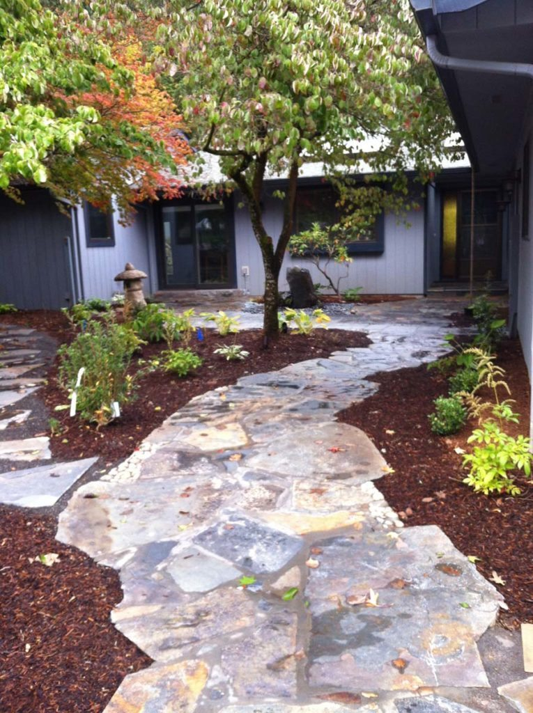 mortared flag pathway design landscape salem