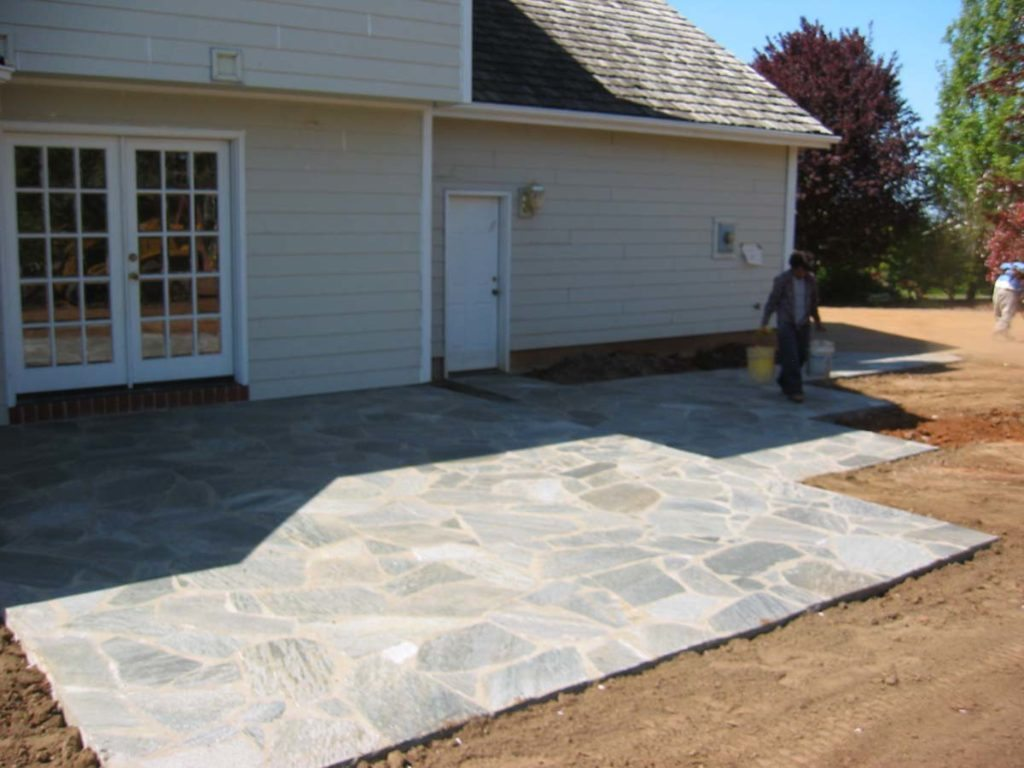 mortared flagstone walkway landscape salem oregon