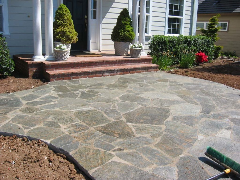 mortared flagstone with brick steps salem oregon