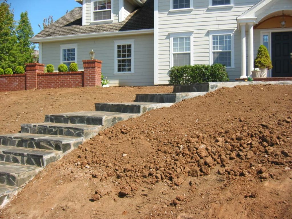 flagstone steps up to entry salem landscape design
