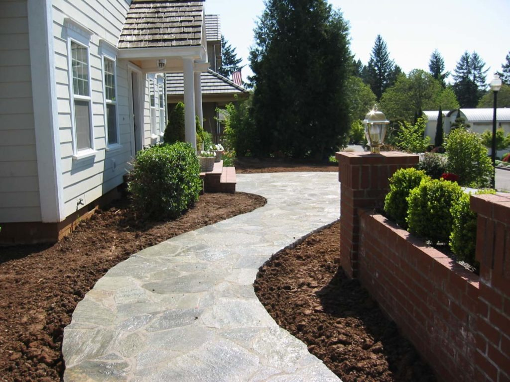 mortared flagstone path landscape design