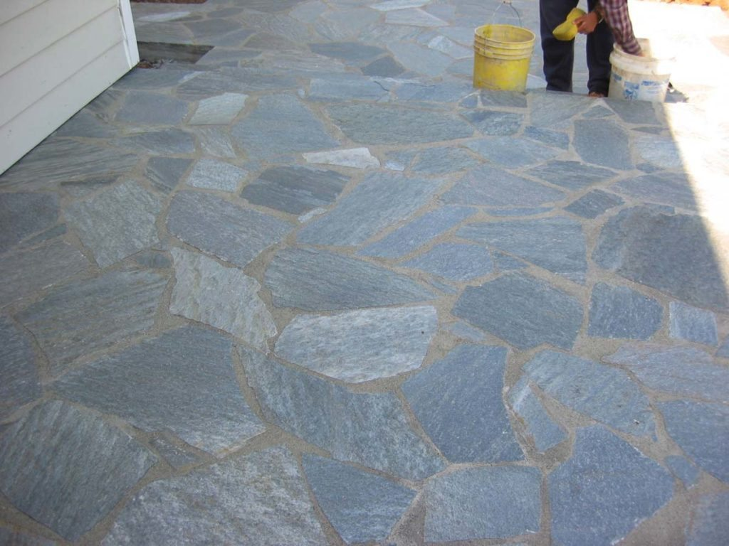 mortared flagstone courtyard salem oregon