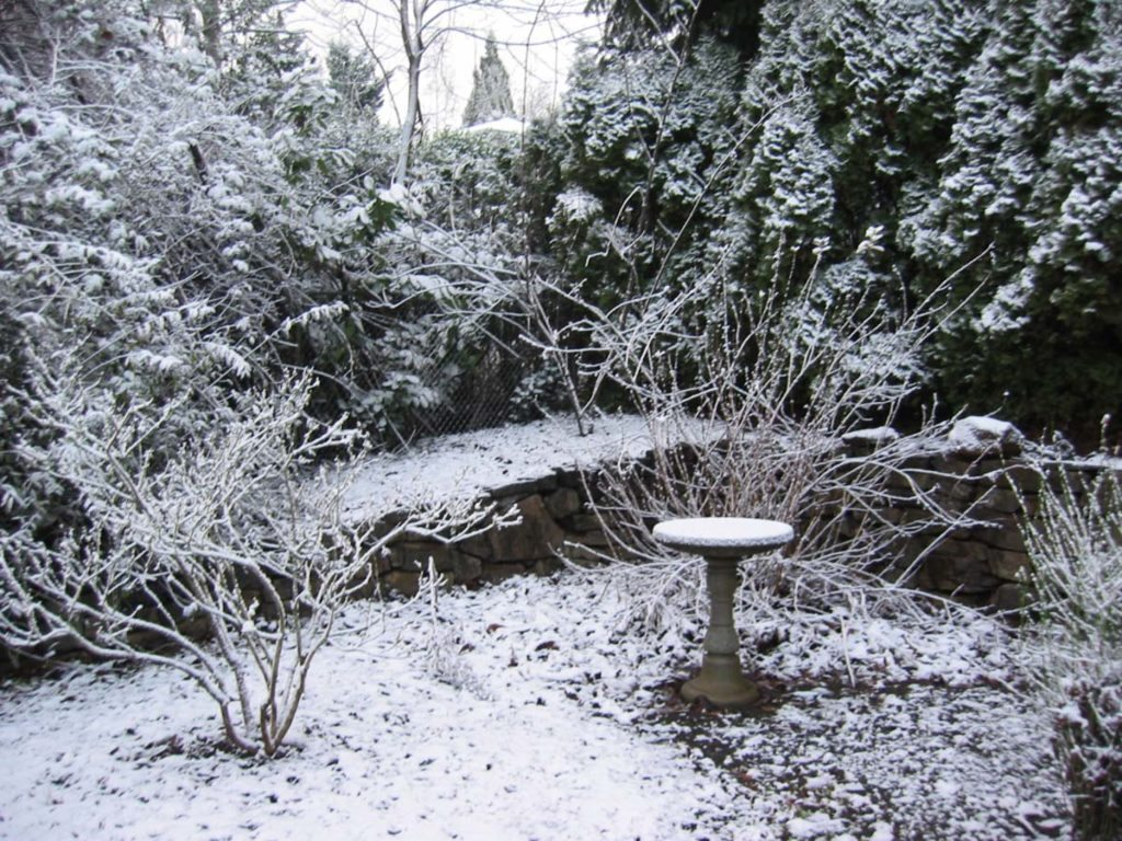 bird bath landscape design with snow